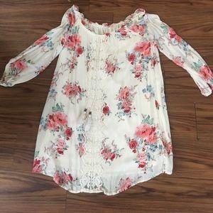 Exhilaration off the shoulder floral dress